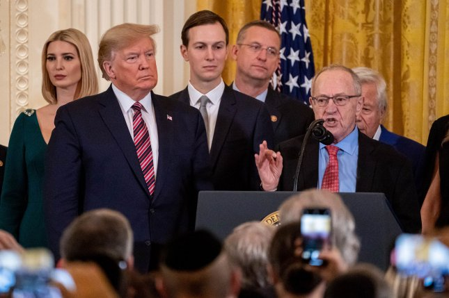 Law professor Alan Dershowitz, a member of President Donald Trump's defense team, said Sunday that Democrats must charge the president with a crime in order to remove him from office.  Photo by Ken Cedeno/UPI