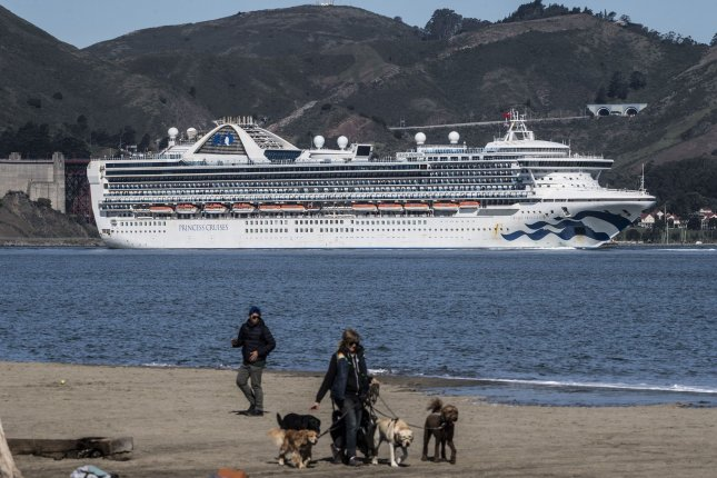 The Grand Princess cruise ship sails into San Francisco Bay on Monday in San Francisco, Calif. Princess Cruises said Thursday it will suspend operations for 60 days due to the coronavirus outbreak. Photo by Terry Schmitt/UPI