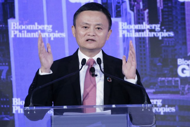 Alibaba Group Chairman Jack Ma speaks at the Bloomberg Global Business Forum at the Plaza Hotel in New York City in 2017. File Photo by John Angelillo/UPI