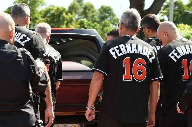 The hearse carrying the coffin with Miami Marlins pitcher Jose Fernandez arrives at Brendan Catholic Church in Miami, Florida, September 28, 2016. Jose Fernanedez, 24, died in a boating accident off of the South Beach jetty on Sunday September 25, 2016. Photo by Gary I Rothstein/UP1