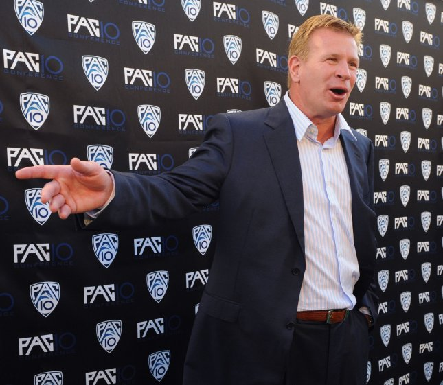 Former Arizona football coach Mike Stoops speaks during the FOX Sports/PAC-10 Conference in 2010. File photo by Jim Ruymen/UPI