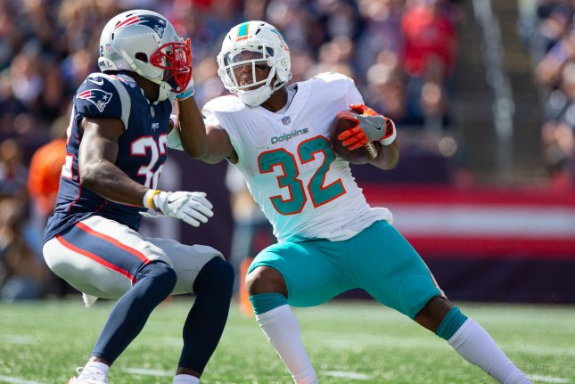Miami Dolphins running back Kenyan Drake (32) has been the subject of trade talks this season. File Photo by Matthew Healey/UPI