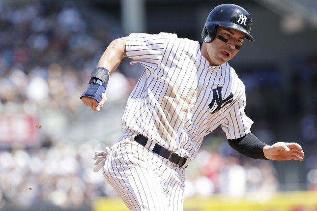 New York Yankees outfielder Jacoby Ellsbury hasn't played since the 2017 season due to injuries. File Photo by John Angelillo/UPI