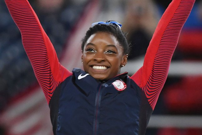 Simone Biles said she believes Black Lives Matter protests against police brutality and racial inequality this summer in the United States are working. File Photo by Terry Schmitt/UPI