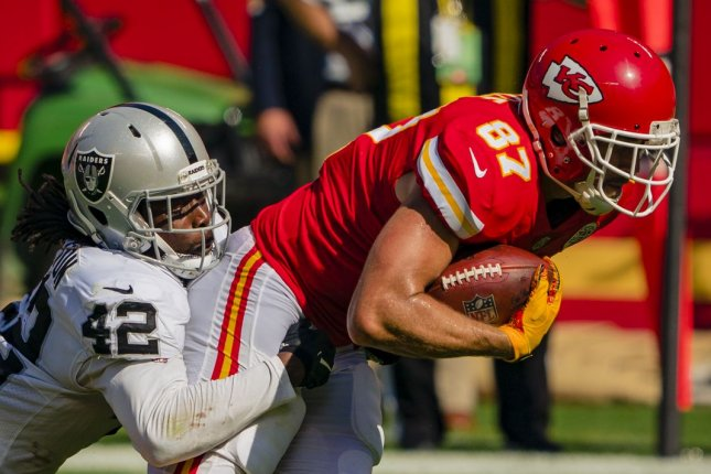 The Kansas City Chiefs' Travis Kelce (87) is the most-targeted tight end in the NFL and is my top fantasy football option at the position in Week 7. File Photo by Kyle Rivas/UPI