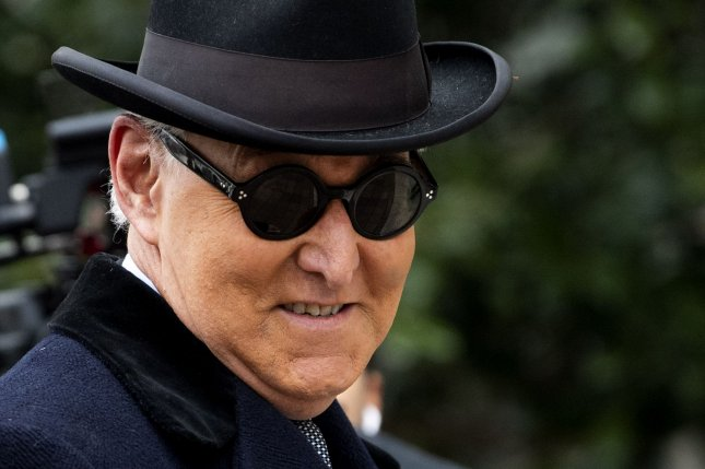 Roger Stone, a former campaign adviser to U.S. President Donald Trump, arrives for his sentencing hearing in his trial for lying to Congress and witness tampering, at the E. Barrett Prettyman Courthouse inWashington, D.C, on Feb. 20, 2020. File photo by Kevin Dietsch/UPI