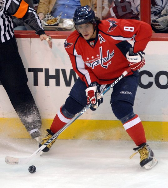 Washington Capitals forward Alexander Ovechkin of Russia looks to pass against the Colorado Avalanche during the first period at the Verizon Center in Washington on January 9, 2008. (UPI Photo/Roger L. Wollenberg)