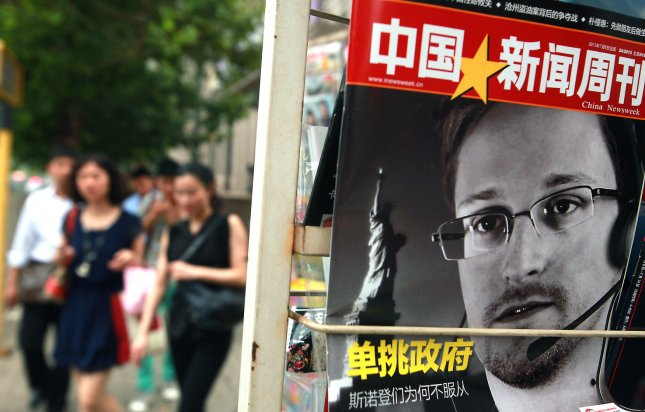 China's version of Newsweek magazine featuring a front-page story on American intelligence leaker Edward Snowden is sold at a news stand in Beijing on July 8, 2013. UPI/Stephen Shaver