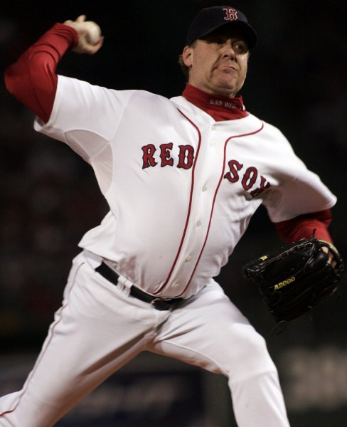 Former Red Sox pitcher Curt Schilling tracked down several Twitter users for posting vulgar and defiling tweets about his daughter Gabby. Photo by Matthew Healey/UPI