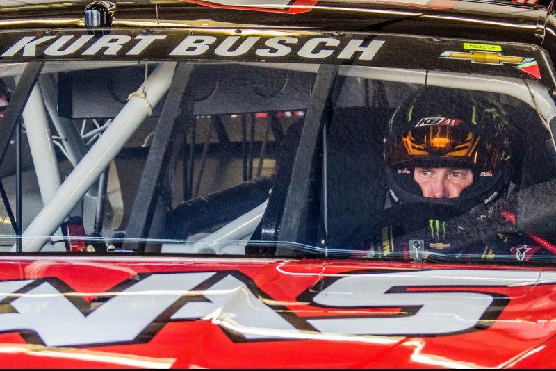 Kurt Busch waits in car for the start of practice for the Daytona 500 at Daytona International Speedway on February 20, 2016 in Daytona, Florida. Photo by Edwin Locke/UPI