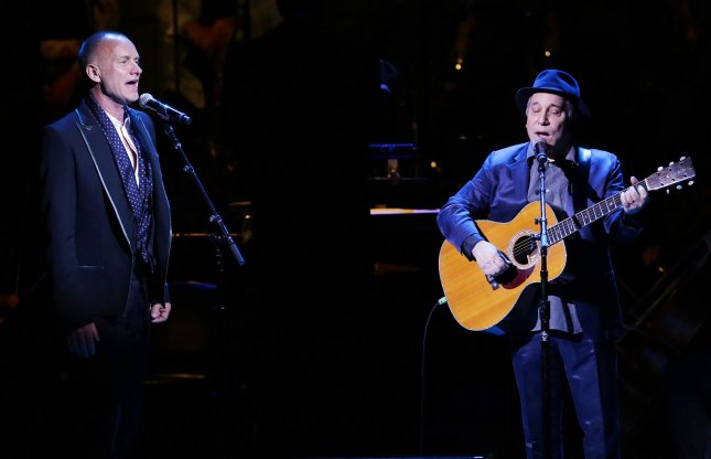 Paul Simon and Sting perform at the Revlon Concert for the Rainforest Fund 25th Anniversary at Carnegie Hall in New York City on April 17, 2014. Simon recently said that he is considering retirement. File Photo by John Angelillo/UPI