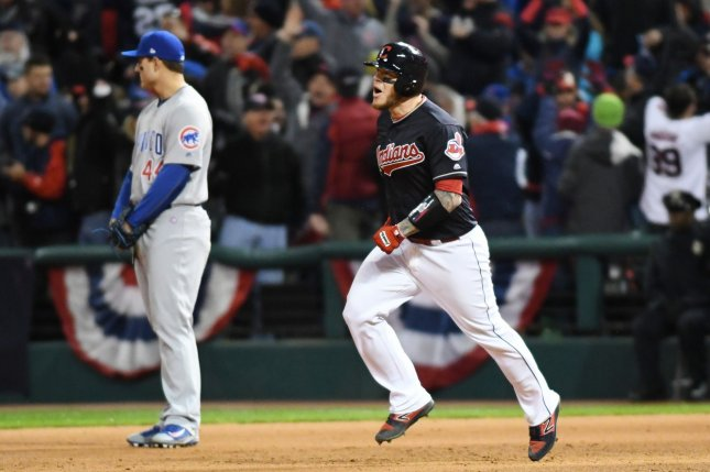 Cleveland Indians' Roberto Perez hits a 3 run home run in the 8th inning against the Chicago Cubs during game 1 of the World Series at Progressive Field in Cleveland, Ohio on October 25, 2016. The Indians defeat the Cubs 6-0 to take a 1-0 lead in the series. Photo by Kyle Lanzer/UPI