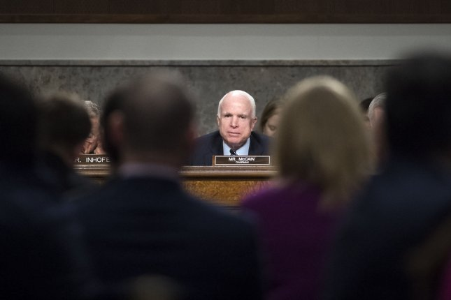 Arizona Sen. John McCain, seen here on January 5, 2017, read excerpts from his new memoir to NPR Thursday -- in which he said he is prepared for death. Photo by Kevin Dietsch/UPI