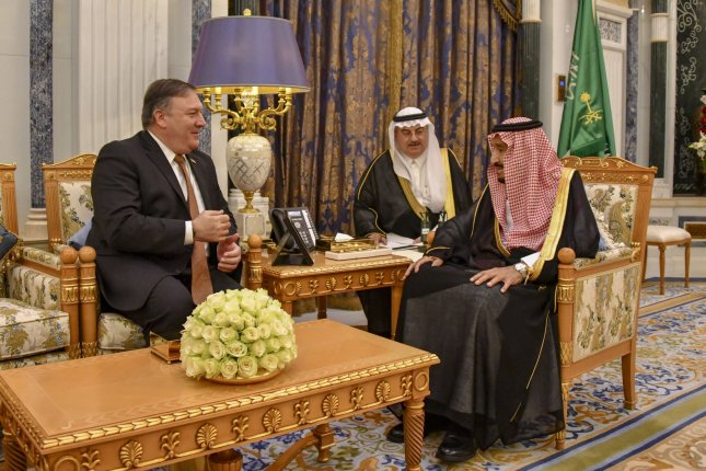 Secretary of State Mike Pompeo meets with Saudi King Salman bin Abdul-Aziz at the Royal Court in Riyadh, Saudi Arabia on Tuesday. Photo by U.S. Department of State/UPI