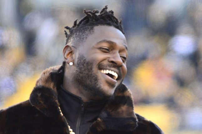 Antonio Brown said nothing but nice things about the city of Pittsburgh on Wednesday when introduced in Oakland, and thanked his former city and his fans by purchasing ads on local billboards. File Photo by Archie Carpenter/UPI