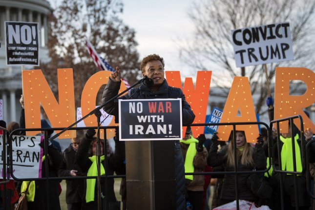Rep. Barbara Lee, D-Calif., speaks at a demonstration against war with Iran and to limiting President Donald Trump's war powers on Capitol Hill in Washington, D.C., on January 9, 2020. File Photo by Kevin Dietsch/UPI