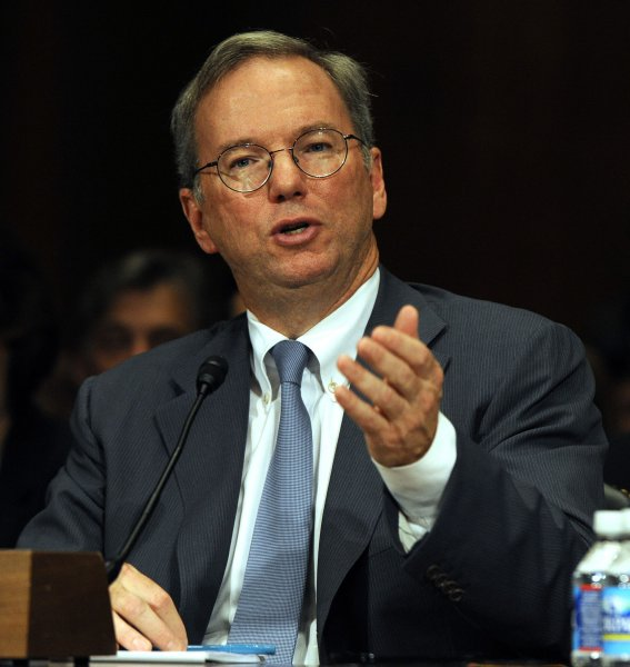 Eric Schmidt, executive chairman of Google, testifies before the Senate Judiciary Committee Antitrust, Competition Policy and Consumer Rights Subcommittee hearing regarding whether the power of Google serves consumers or threatens competition on Capitol Hill in Washington, DC, on September 21, 2011. UPI/Roger L. Wollenberg