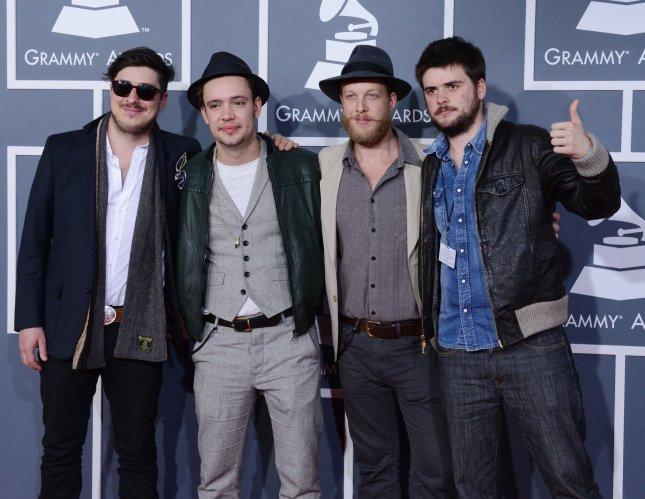 Marcus Mumford, Ben Lovett, 'Country' Winston Marshall and Ted Dwane (L-R) of Mumford & Sons, arrive at the 55th Annual GRAMM arrives at the 55th annual Grammy Awards at Staples Center in Los Angeles on February 10, 2013. Babel by the British folk rock band was named Album of the Year at the Grammy Awards ceremony. UPI/Jim Ruymen.