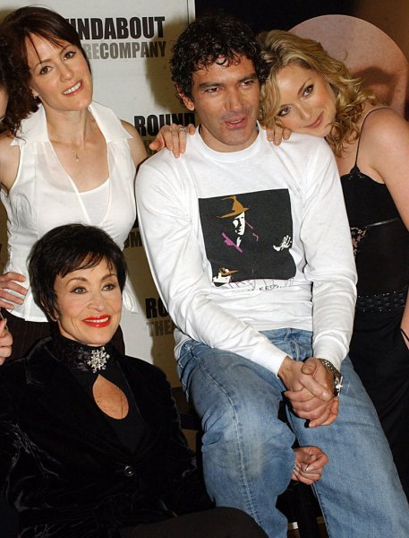 Cast members Antonio Banderas (C), Chita Rivera (seated), Mary Stuart Masterson (L) and Jane Krakowski (R) pose at the press conference for the upcoming Broadway musical Nine on February 25, 2003 in New York City. Banderas is making his Broadway debut. File Photo by Ezio Petersen/UPI