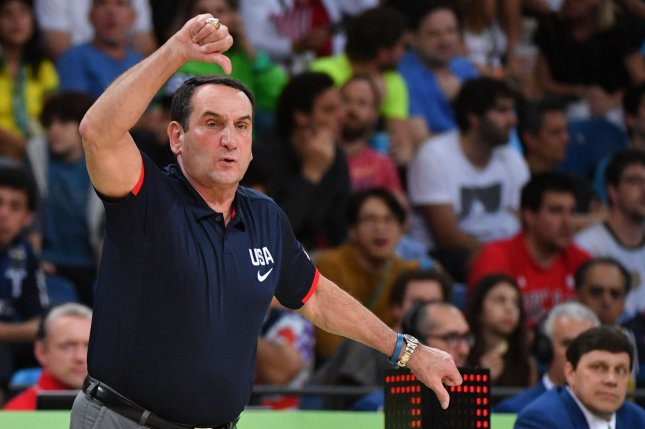 Coach of the United States team, and Duke coach, Mike Krzyzewski. Photo by Kevin Dietsch/UPI