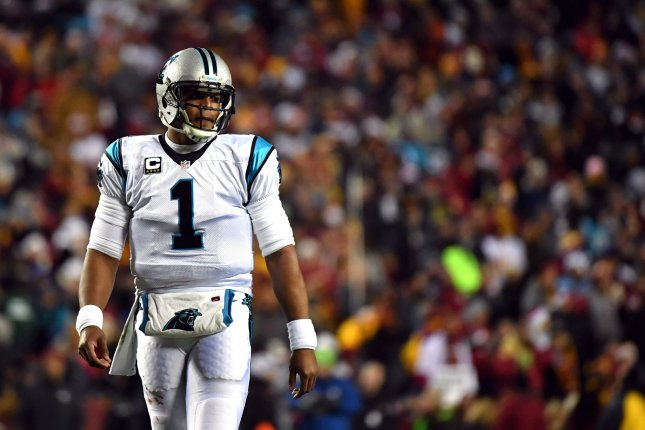 Carolina Panthers quarterback Cam Newton (1) is seen on the field against the Washington Redskins in the first quarter at FedEx Field in Landover, Maryland on December 19, 2016. File photo by Kevin Dietsch/UPI