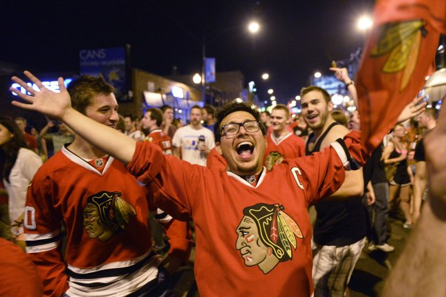 Chicago Blackhawks fans. File photo by Brian Kersey/UPI