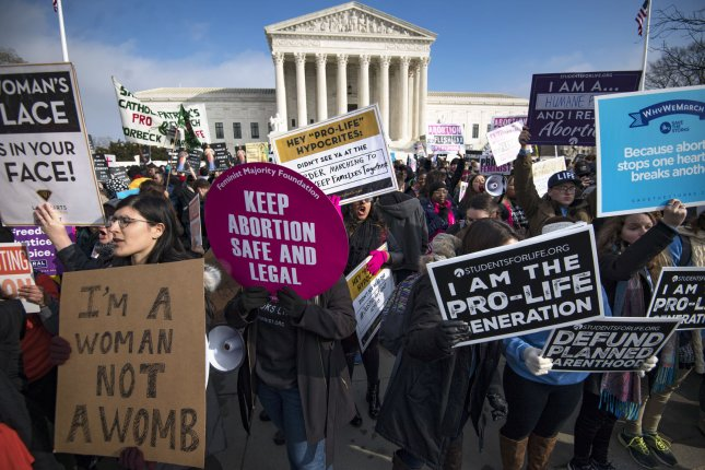 Activists for and against abortion demonstrate at the Supreme Court during the March for Life anti-abortion rally in Washington, D.C. on January 18. File Photo by Kevin Dietsch/UPI