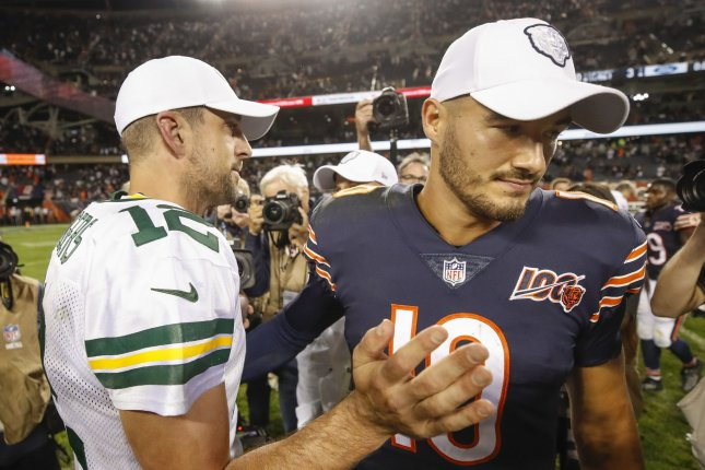Green Bay Packers quarterback Aaron Rodgers (L) and Chicago Bears quarterback Mitchell Trubisky (R) were each sacked five times in the NFL season-opening game Thursday in Chicago. Photo by Kamil Krzaczynski/UPI