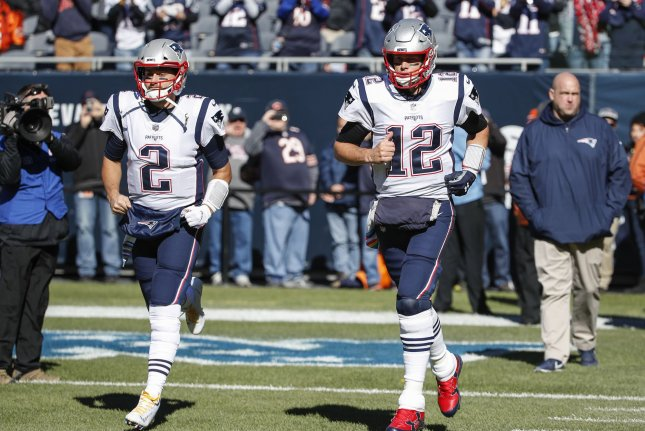 New England Patriots quarterback Brian Hoyer (2) agreed to a one-year deal to return to the franchise. File Photo by Kamil Krzaczynski/UPI
