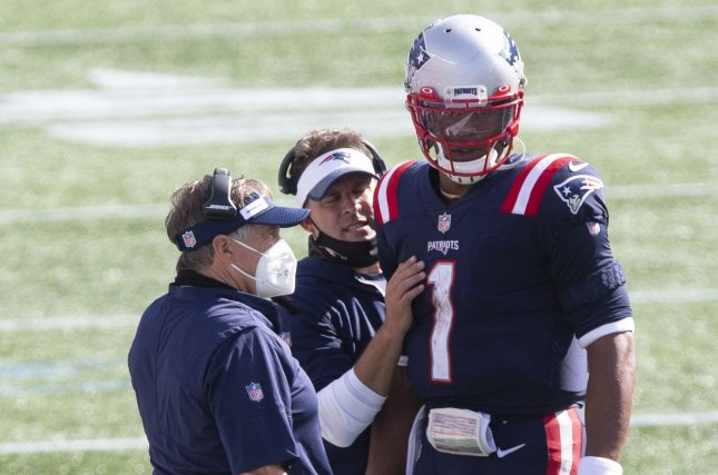 New England Patriots quarterback Cam Newton (1) has completed 67.2% of his throws for 969 yards, two touchdowns and seven interceptions in five games this season. File Photo by Matthew Healey/UPI