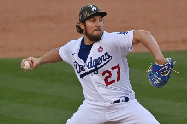 Los Angeles Dodgers pitcher Trevor Bauer is now on administrative leave through at least July 27 as MLB and police investigate sexual assault claims made against the All-Star. File Photo by Jim Ruymen/UPI