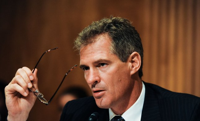 Sen. Scott Brown (R-MA) asks questions at a Senate Homeland Security and Governmental Affairs Subcommittee on Contracting Oversight hearing on unmarked or mislabeled graves at Arlington National Cemetery on Capitol Hill in Washington on July 29, 2010. UPI/Alexis C. Glenn