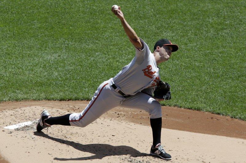 Baltimore Orioles starting pitcher Ubaldo Jimenez throws a pitch. File photo by John Angelillo/UPI