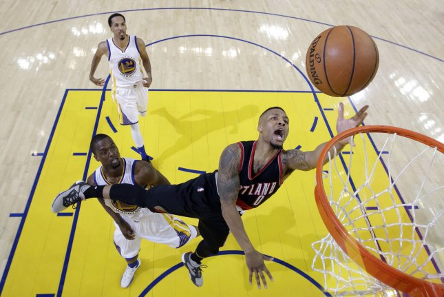 48d2f6f26d8 Portland Trail Blazers star Damian Lillard (0) shoots against the Golden  State Warriors. Pool photo by Marcio Jose Sanchez/UPI | License Photo