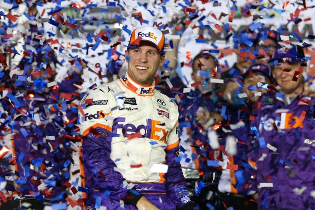 Denny Hamlin finished third in the NASCAR Cup Series standings after winning the 2019 Daytona 500. File Photo by Mike Gentry/UPI