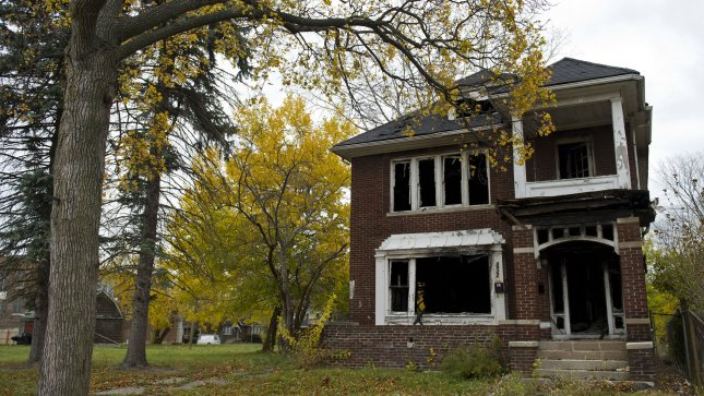 An abandoned house is seen in Detroit on October 27, 2012. UPI/Kevin Dietsch