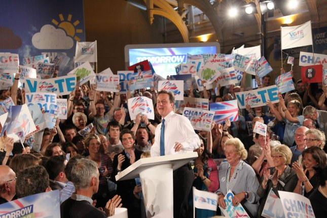 Conservative leader David Cameron speaks to party supporters at the last rally of his general election campaign in Bristol, England on May 5, 2010. UPI/Hugo Philpott