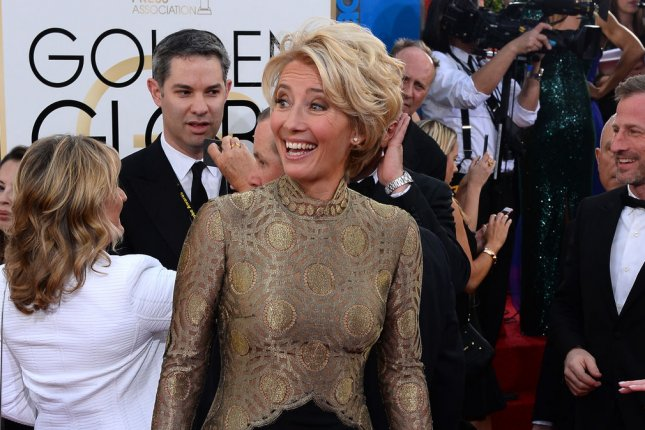 Actress Emma Thompson arrives for the 71st annual Golden Globe Awards at the Beverly Hilton Hotel in Beverly Hills, California on January 12, 2014. UPI/Jim Ruymen