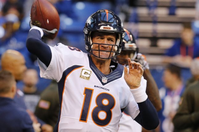 Denver Broncos quarterback Peyton Manning (18). Photo by John Sommers II/UPI