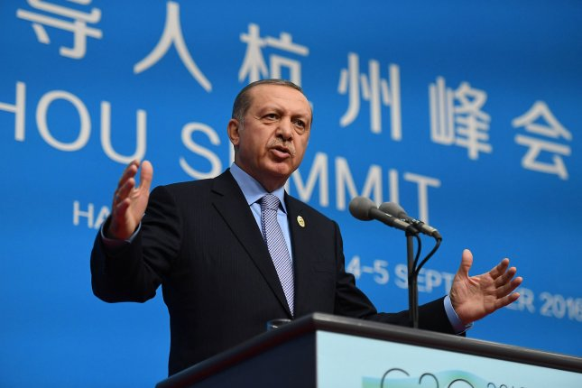 Turkish President Recap Tayyip Erdogan speaks at a news conference at the close of the G20 Summit in Hangzhou, China on September 5. On Monday, he declared a bigger safe zone in bordering Syria. Pool Photo by Li He /UPI