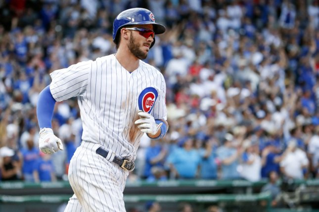 Chicago Cubs' Kris Bryant runs the bases after hitting a solo home run against the Pittsburgh Pirates in the sixth inning at Wrigley Field on July 7, 2017 in Chicago. File photo by Kamil Krzaczynski/UPI