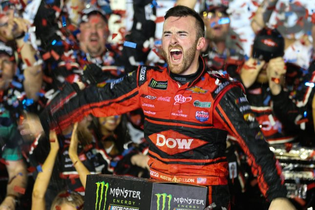 Austin Dillon celebrates in Victory Lane after winning the 60th Daytona 500 Sunday at Daytona International Speedway in Daytona, Fla.. Photo by Mike Gentry/UPI