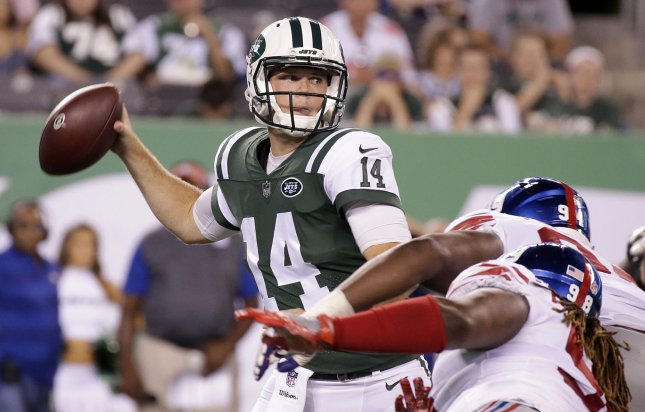 New York Jets quarterback Sam Darnold throws a pass in the second quarter of a preseason game against the New York Giants at MetLife Stadium in East Rutherford, New Jersey on Friday. Photo by John Angelillo/UPI