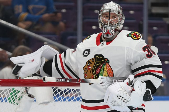 Chicago Blackhawks goaltender Cam Ward looks to his bench during a time out in the first period against the St. Louis Blues on October 6 at the Enterprise Center in St. Louis. Photo by Bill Greenblatt/UPI