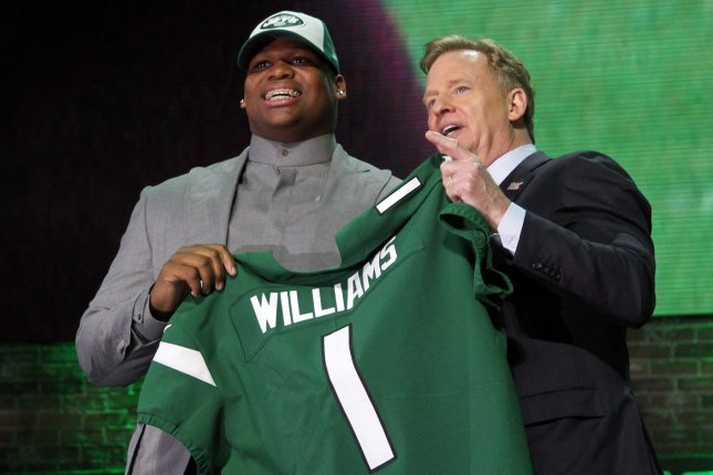 The New York Jets selected Alabama defensive tackle Quinnen Williams (L) with the No. 3 overall pick of the 2019 NFL Draft on Thursday in Nashville. Photo by John Sommers II/UPI