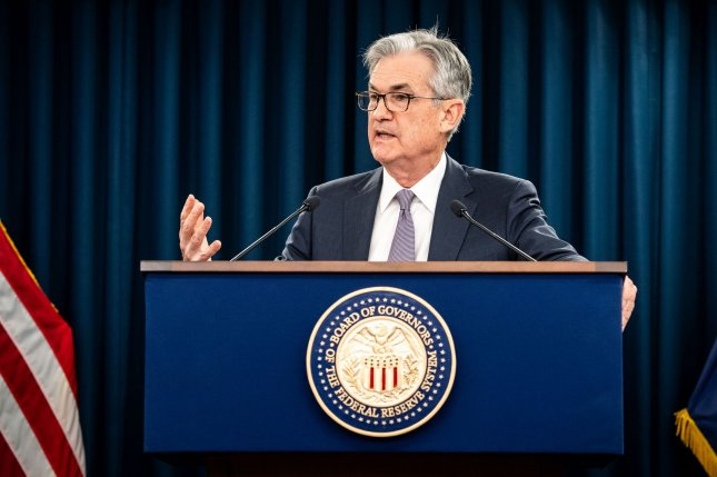 Federal Reserve Chairman Jerome Powell anounced on Wednesday that the Open Market Committee's benchmark funds rate will remain unchanged. File Photo by Kevin Dietsch/UPI