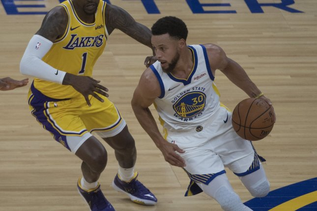Golden State Warriors guard Stephen Curry (30), shown Oct. 5, 2019, is the first player in league history to sign two contracts worth more than $200 million each. File Photo by Terry Schmitt/UPI