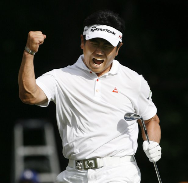 Y. E. Yang. shown during a tournament last year, owns a 1-stroke lead going into the final round of the China Open, a European Tour event. UPI/Brian Kersey