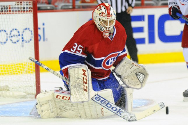 The Montreal Canadiens visit the Detroit Red Wings tonight in a battle of two top Atlantic Division teams. File Photo by Mark Goldman/UPI