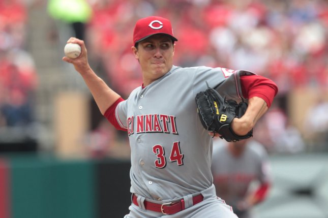 Cincinnati Reds starting pitcher Homer Bailey delivers a pitch to the St. Louis Cardinals in the second inning at Busch Stadium in St. Louis on April 18, 2015. Photo by Bill Greenblatt/UPI